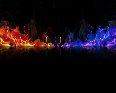Red and blue flames on a black background, vector art illustration.