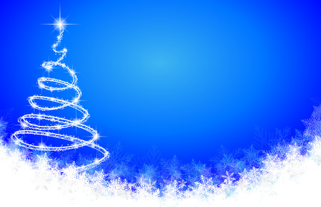 Abstract spiral Christmas tree on a background of snowflakes, vector art illustration New Year.