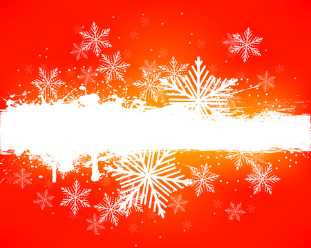 Grunge banner with snowflakes, vector art illustration winter and Christmas Nogvomu Year.