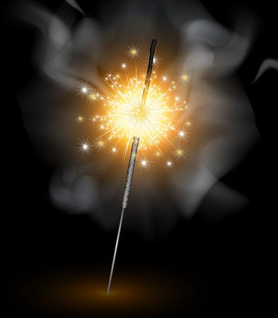 Sparklers on black background, vector art illustration holiday. Illustration