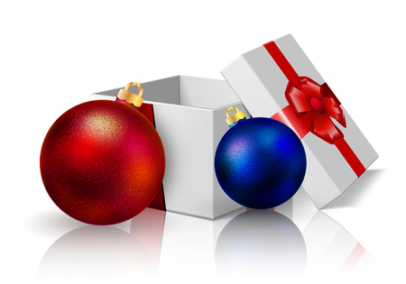 anniversary sale: Festive box and Christmas balls, Illustration