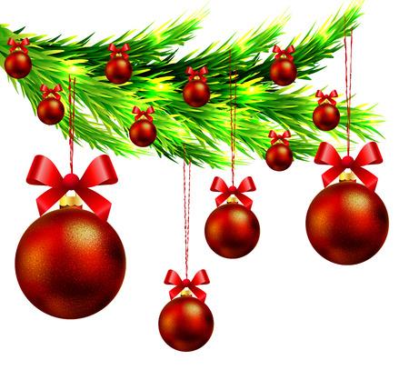 dcor: Christmas tree branch with Christmas balls,