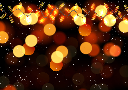 Hanging garlands on bokeh background, vector art illustration of New Year and Christmas.
