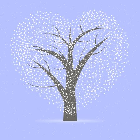 L'albero con la corona a forma di un cuore, illustrazione arte vettoriale.