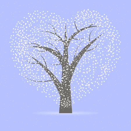 The tree with the crown in the shape of a heart, vector art illustration.