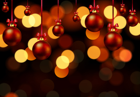 dcor: Hanging christmas balls on bokeh background, vector art illustration New Year.