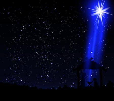 Christmas star on the hut of Jesus Christ, vector art illustration. Ilustrace