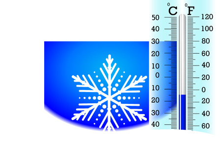 Sub-zero temperatures on the thermometer, vector art illustration for the winter.