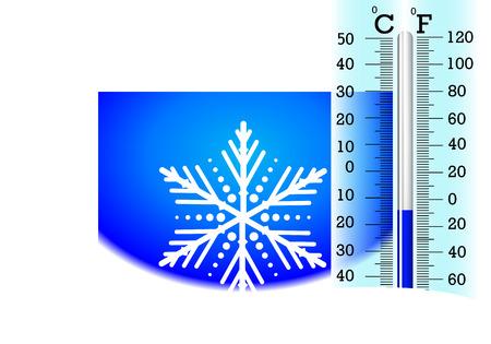 Temperaturen onder nul op de thermometer, vectorkunstillustratie voor de winter. Vector Illustratie