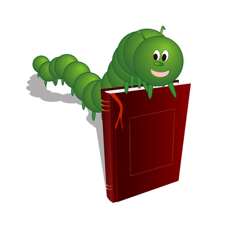 Caterpillar on the book, vector art illustration of a bookworm.