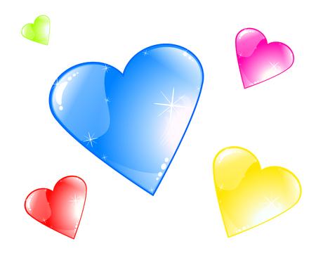 Multi-colored plastic hearts, vector art illustration Valentines Day.