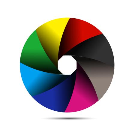 Colorful shutter, vector art illustration logo.