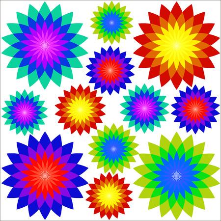 enjuague bucal: Drawings fractal flowers, vector art illustration background. Vectores