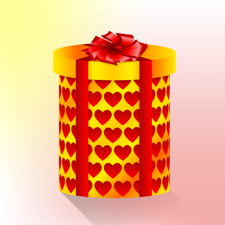 A cylindrical box with hearts, vector art illustration.