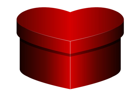 Isolated box in the shape of a heart, vector art illustration.