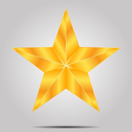 Gold star on a gray background, vector art illustration. Illustration