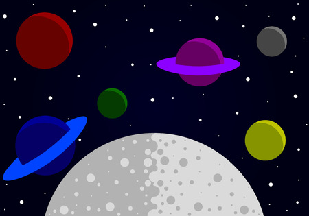 The flat design of the planets in outer space, vector art illustration.