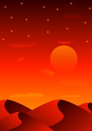 Evening sandy desert, vector art illustration Egypt. Illustration