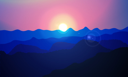 horizon over land: Sun over the mountains, vector art illustration.