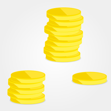 dime: Three heaps of gold coins, vector art illustration. Illustration
