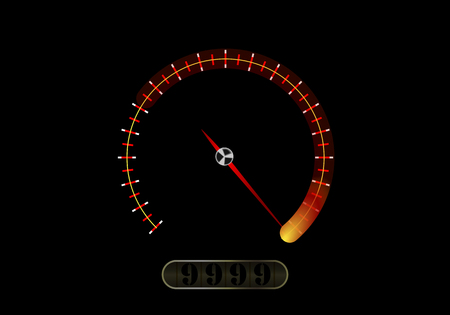 Speedometer on black background, vector art illustration. Ilustrace