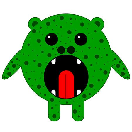 speculative: Green round monster, fictional vector art illustration. Illustration