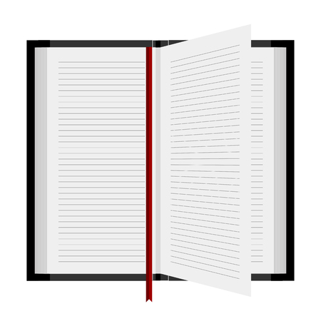 computer education: Open book with a bookmark, vector art illustration.