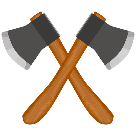 Two cross axes, vector art illustration of weapons.
