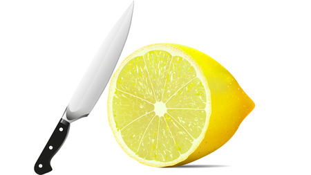 Knife and lemon, vector artistic illustration of a product. Illustration