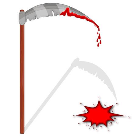 guadaña: Saliva sangrienta, ilustración de arte vectorial para Halloween.
