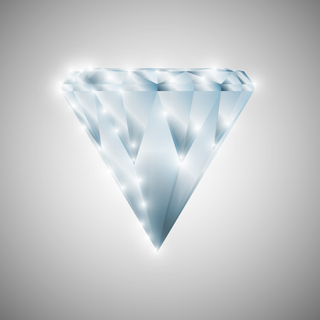 Shining diamond, vector art illustration of a gem. Illustration