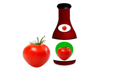 Tomato with jar with tomato sauce, vector art illustration. Illustration