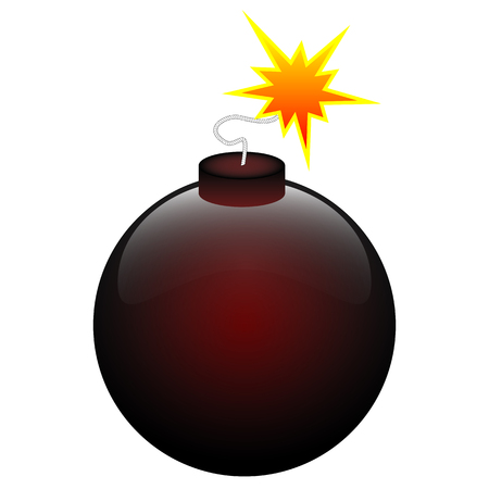 Round black and red bomb, vector art illustration.