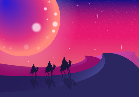 Three camels in the desert, vector art illustration. Illustration