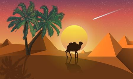 Landscape of palms and camel on a background of desert pyramids, vector art illustration. Illustration