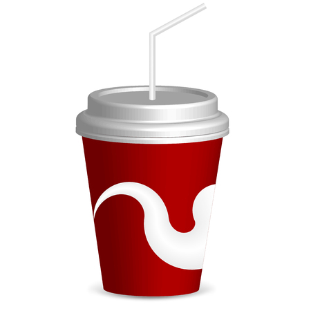 Drink with straw, vector art illustration of fast food. Çizim