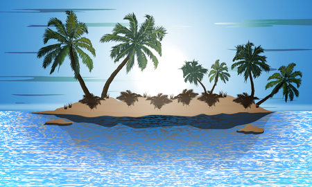 Island with palm trees, vector art illustration. Illustration