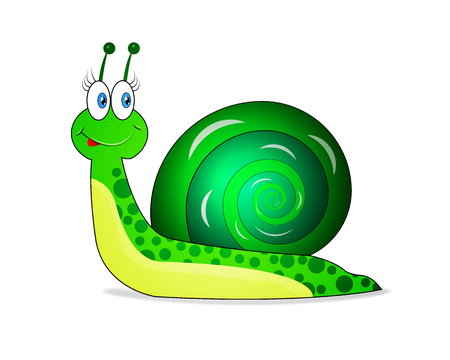 Cheerful green snail vector illustration of an animal. Vectores