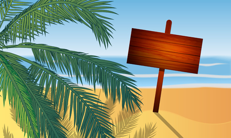 Wooden sign on the beach under the palm tree, vector art illustration.