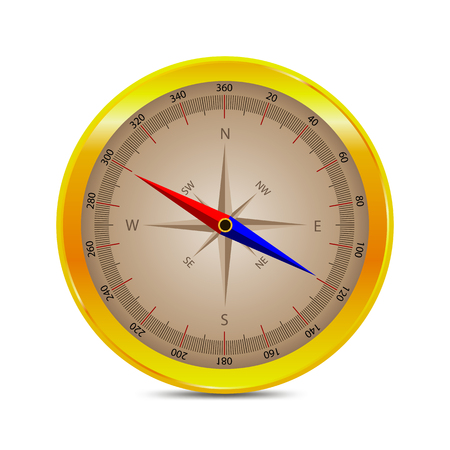 Isolated compass, vector art illustration of a geolocation device.