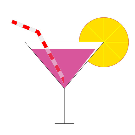 Cocktail icon with straw, vector art illustration. Illustration