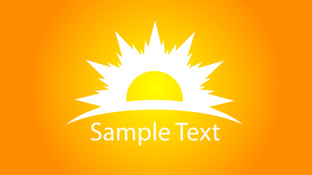painting: Logo sun with text, vector art illustration.