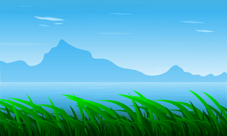 Landscape of grass on the background of the river and mountains, vector art illustration.