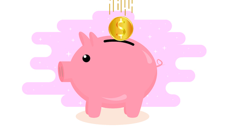 savings account: A coin icon with a copy, vector art illustration.