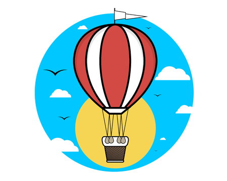 blimp: Balloon at sunset and sunrise, vector art illustration. Illustration