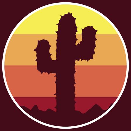 beach sunset: Logo cactus icon in the desert, vector art illustration.