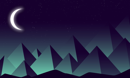 Crescent on a background of night mountains, vector art illustration.