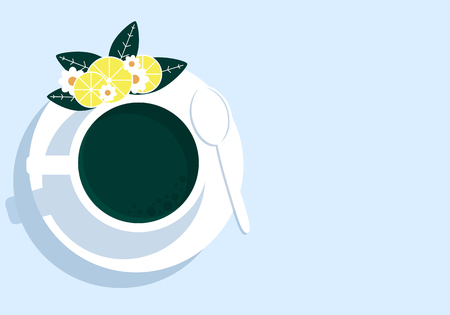 Cup of tea with lemon, vector art illustration.