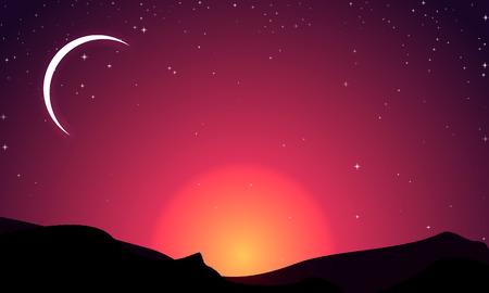 Halve maan op de achtergrond van een zonsondergang en bergen, vector kunst illustratie.