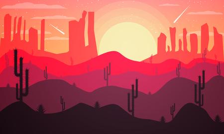 colorado rocky mountains: Landscape design of a desert with cactuses, vector art illustration.